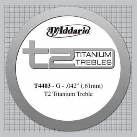 D'Addario T4403 T2 Titanium Extra Hard Tension Single String 3rd G-String