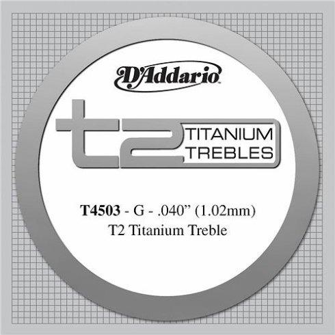 D'Addario T4503 T2 Titanium Normal Tension Single String 3rd G-String
