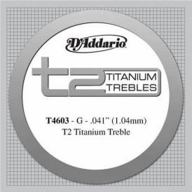 D'Addario T4603 T2 Titanium Hard Tension Single Classical Guitar String 3rd G-String