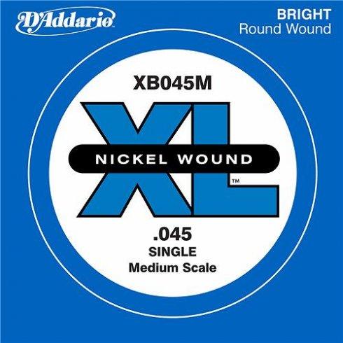 D'Addario XB045M Nickel Wound XL Bass Single String .045 Medium Scale