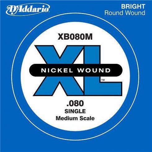 D'Addario XB080M Nickel Wound XL Bass Single String .080 Medium Scale
