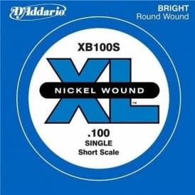 D'Addario XB100S Nickel Wound XL Bass Single String .100 Short Scale