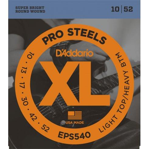 D'Addario XL ProSteels EPS540 Stainless Steel Guitar Strings 10-52 Light Top Heavy Bottom