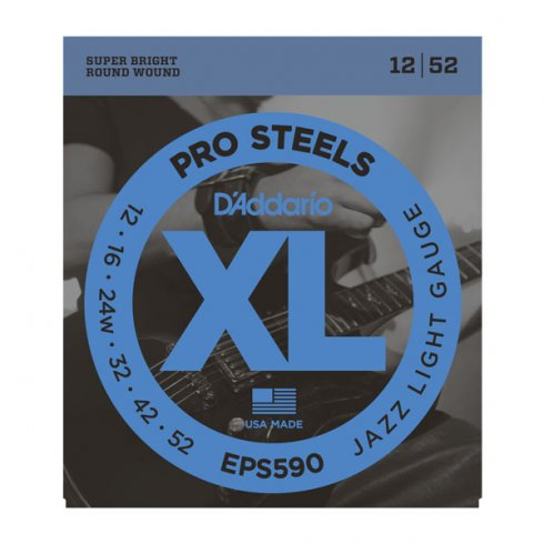 D'Addario XL ProSteels EPS590 Stainless Steel Guitar Strings 12-52 Jazz Light