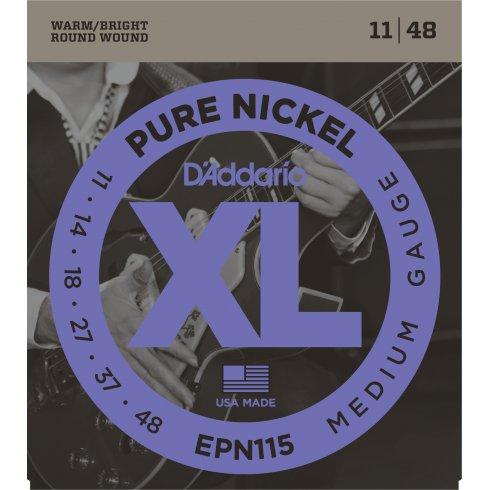 D'Addario XL Pure Nickel EPN115 Guitar Strings 11-48 Jazz Rock