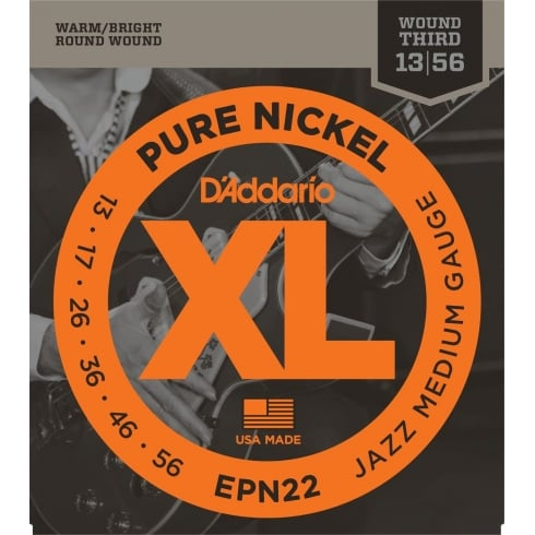 D'Addario XL Pure Nickel EPN22 Guitar Strings 13-56 Jazz Medium