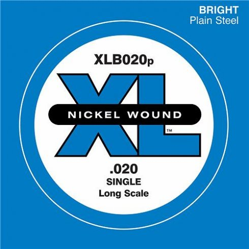 D'Addario XLB020 Plain Steel XL Bass Single String .020 Gauge - Long Scale