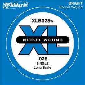 D'Addario XLB028w Nickel Wound XL Bass Single String .028 Long Scale