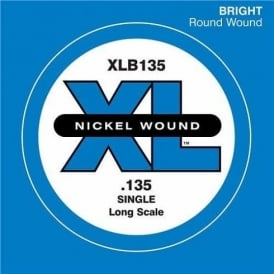 D'Addario XLB135 Nickel Wound XL Bass Single String .135 Long Scale