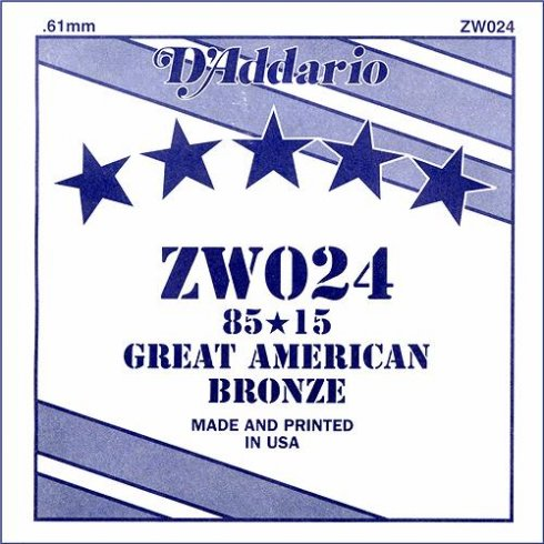 ZW024 85/15 Great American Bronze Acoustic Guitar Single String .024