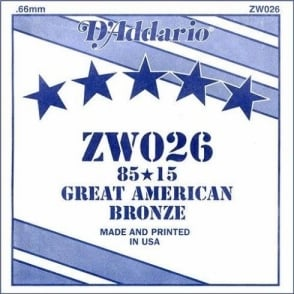 D'Addario ZW026 85/15 Great American Bronze Acoustic Guitar Single String .026