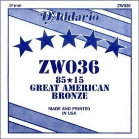D'Addario ZW036 85/15 Great American Bronze Acoustic Guitar Single String .036