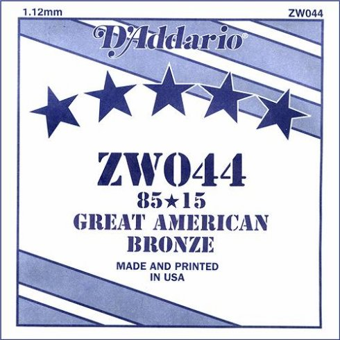 D'Addario ZW044 85/15 Great American Bronze Acoustic Guitar Single String .044