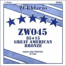 D'Addario ZW045 85/15 Great American Bronze Acoustic Guitar Single String .045