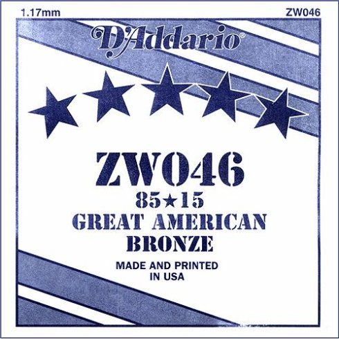 D'Addario ZW046 85/15 Great American Bronze Acoustic Guitar Single String .046