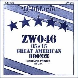D'Addario ZW046 85/15 Great American Bronze Acoustic Guitar Single String .046
