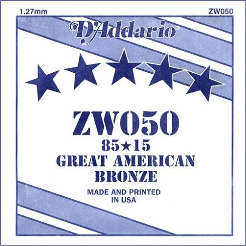 ZW050 85/15 Great American Bronze Acoustic Guitar Single String .050