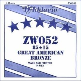 D'Addario ZW052 85/15 Great American Bronze Acoustic Guitar Single String .052