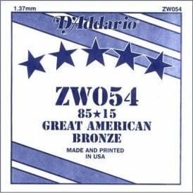 D'Addario ZW054 85/15 Great American Bronze Acoustic Guitar Single String .054