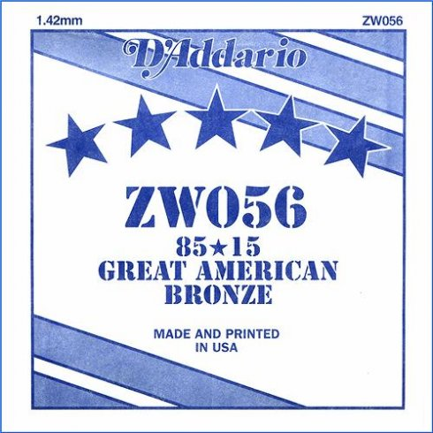 ZW056 85/15 Great American Bronze Acoustic Guitar Single String .056