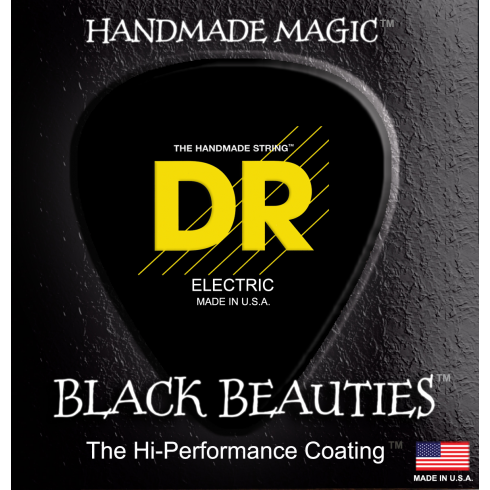 DR Handmade 4-String Black Beauties Coated 50-110 Long Scale Bass Guitar Strings Heavy