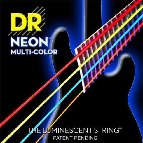DR Handmade 4-String K3 Neon HiDef Multi-Colour 45-105 Long Scale Bass Strings