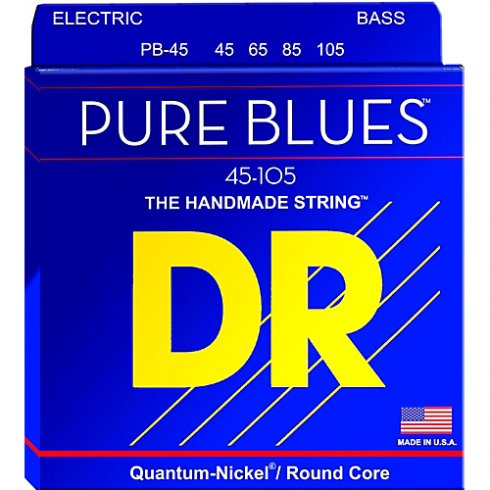 DR Handmade DR PURE BLUES™ Quantum-Nickel Bass Strings, Roundcore, 45-105 Medium, Long Scale