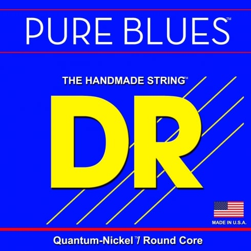 DR Handmade DR PURE BLUES™ Quantum-Nickel Bass Strings, Roundcore, 45-105 Medium, Long Scale