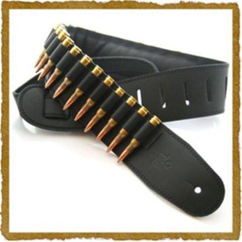 """DSL Straps DSL Leather Bullet Guitar Strap, Black, 2.5"""""""