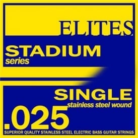 Elites Stadium Stainless Steel Wound Bass Guitar Single String .025 Long Scale