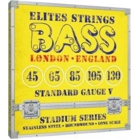 Elites Stadium Series 5-String 45-130 Stainless Steel Bass Strings