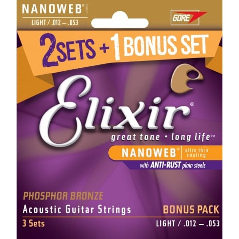 Elixir '3 for 2' Bonus Pack 12-53 Phosphor Bronze Acoustic Guitar Strings