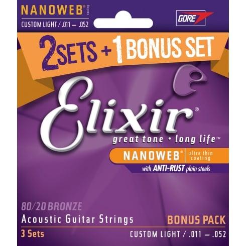 Elixir '3 for 2' Bonus Pack 80/20 Bronze 11-52 Nanoweb Acoustic Guitar Strings