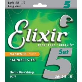 Elixir 5-String Nanoweb Stainless Steel 45-130 Long Scale Bass Guitar Strings E14777