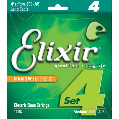 Elixir 4-String E14102 Nanoweb Nickel Plated Steel 50-105 Long Scale Bass Guitar Strings Heavy