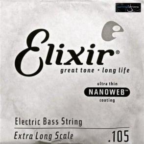 Elixir Nanoweb E15406 Bass Guitar Single String .105XL Extra Long Scale