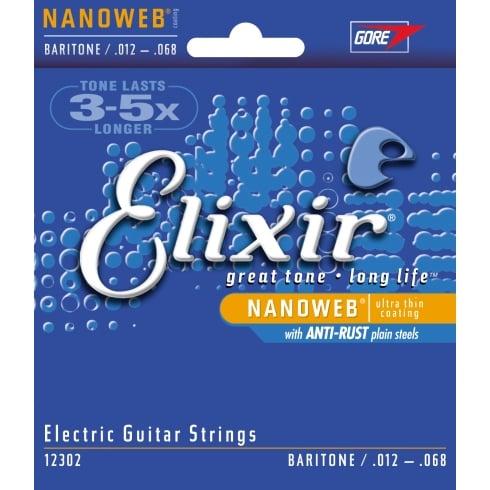 Elixir Nanoweb E12302 Nickel Wound Anti-Rust Electric Guitar Strings 12-68 Baritone