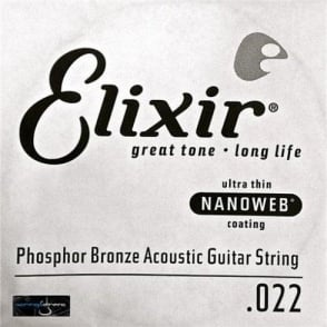 Elixir Nanoweb E14122 Phosphor Bronze Acoustic Guitar Single String .022