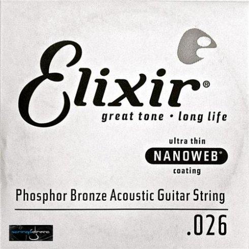 Elixir Nanoweb E14126 Phosphor Bronze Acoustic Guitar Single String .026