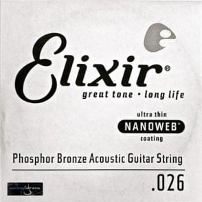 Elixir Nanoweb E14126 Phosphor Bronze Acoustic Guitar Single String .026