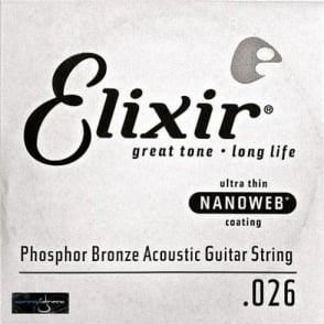 Elixir Nanoweb E14127 Phosphor Bronze Acoustic Guitar Single String .027