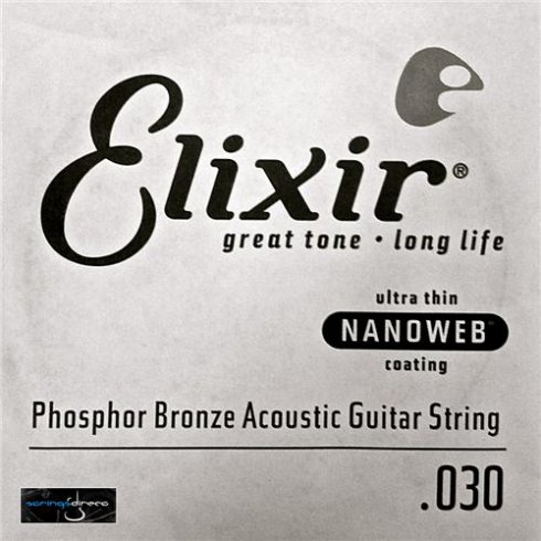 Elixir Nanoweb E14130 Phosphor Bronze Acoustic Guitar Single String .030