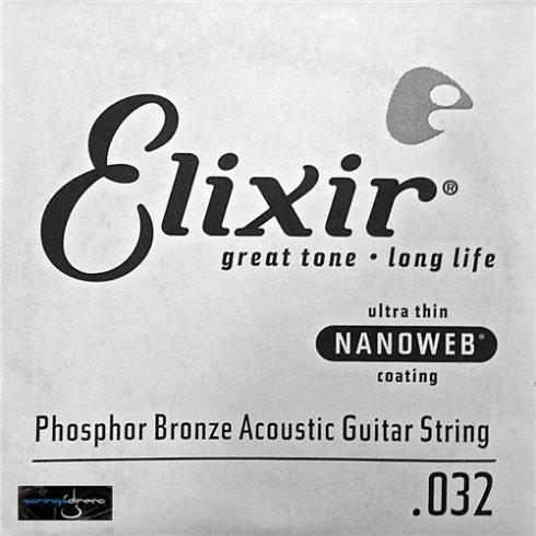 Elixir Nanoweb E14132 Phosphor Bronze Acoustic Guitar Single String .032