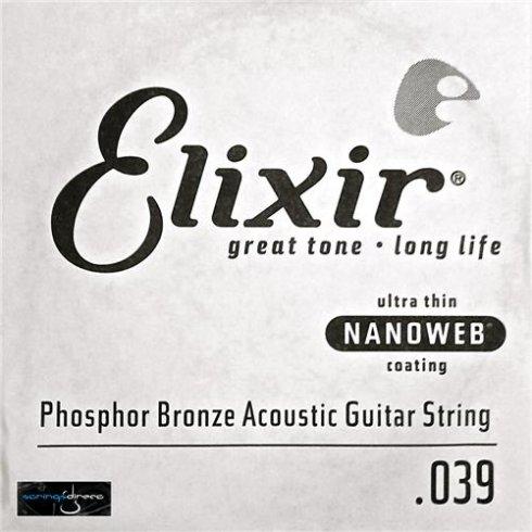 Elixir Nanoweb E14139 Phosphor Bronze Acoustic Guitar Single String .039
