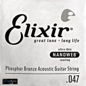 Elixir Nanoweb E14147 Phosphor Bronze Acoustic Guitar Single String .047