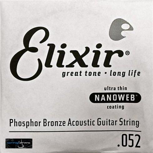 Elixir Nanoweb E14152 Phosphor Bronze Acoustic Guitar Single String .052