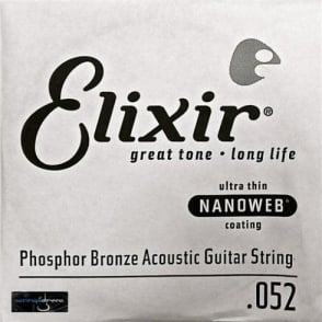 Elixir Nanoweb E14152 Phosphor Bronze Acoustic Guitar Single String .052
