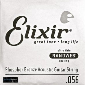 Elixir Nanoweb E14156 Phosphor Bronze Acoustic Guitar Single String .056