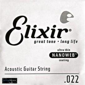 Elixir Nanoweb E15122 80/20 Bronze Acoustic Guitar Single String .022