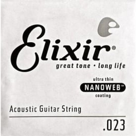 Elixir Nanoweb E15123 80/20 Bronze Acoustic Guitar Single String .023
